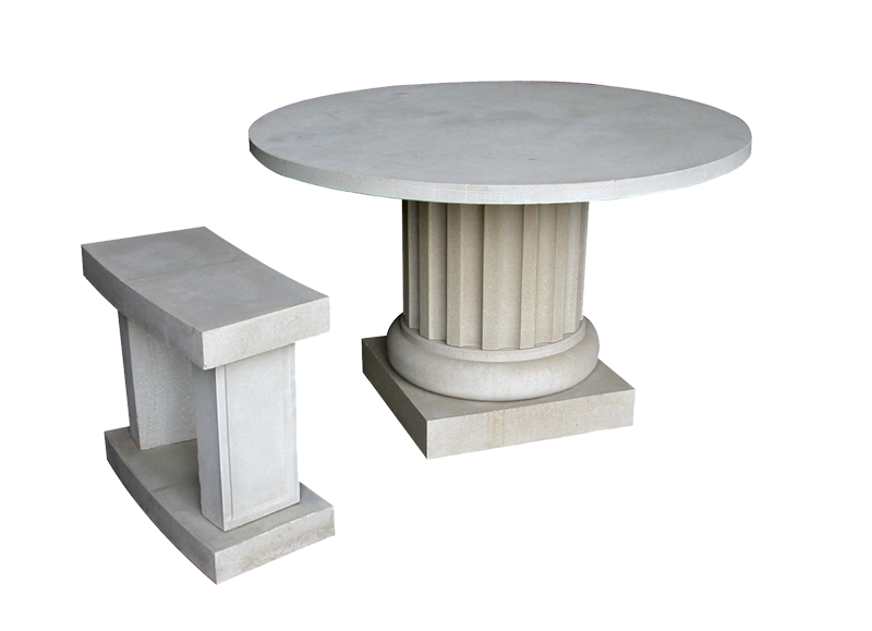 Cast Stone Table with Bench MS 500